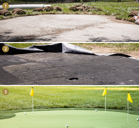 illustrated putting green installation steps